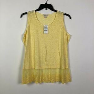 Style&Co 0X Yellow Sleeveless Lace Top 2T11